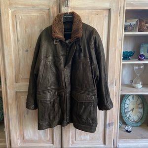 Marco Pierguidi Heavy Leather Coat Men's 40